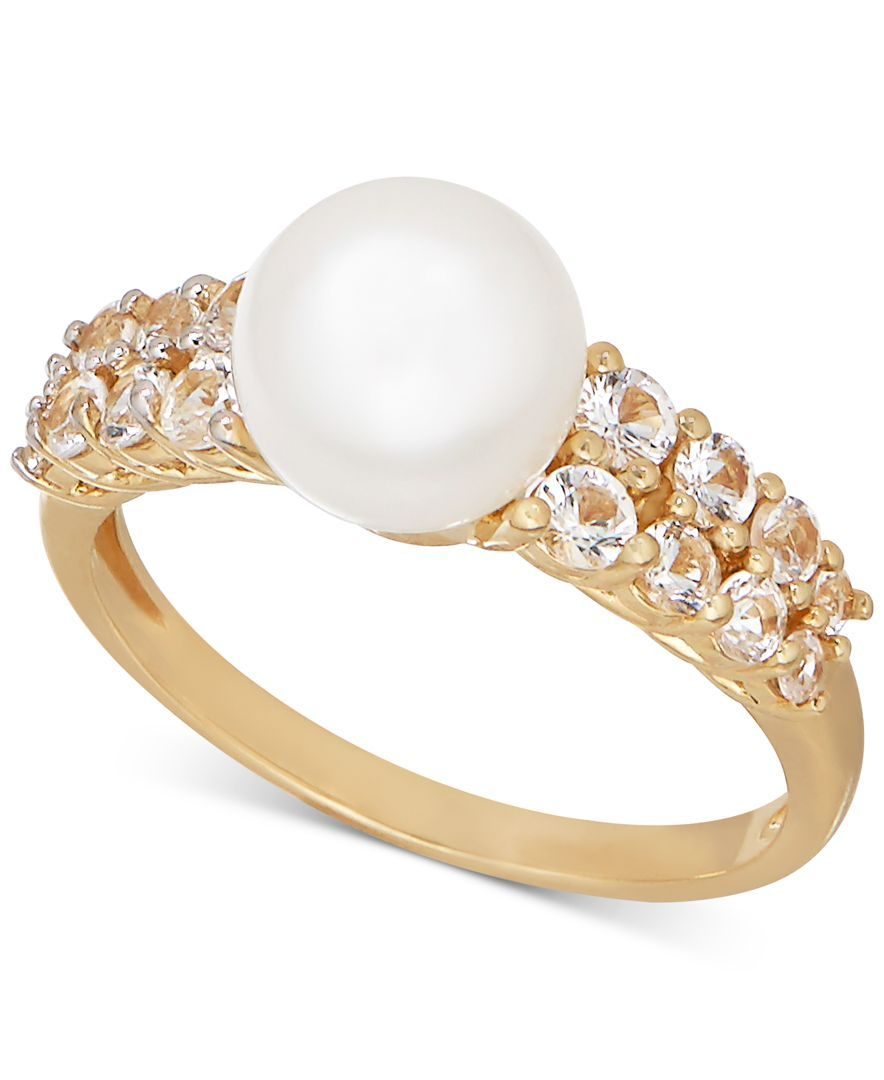 Freshwater Pearl (8mm) and White Topaz (7/8 ct. t.w.) Ring in 14k Gold