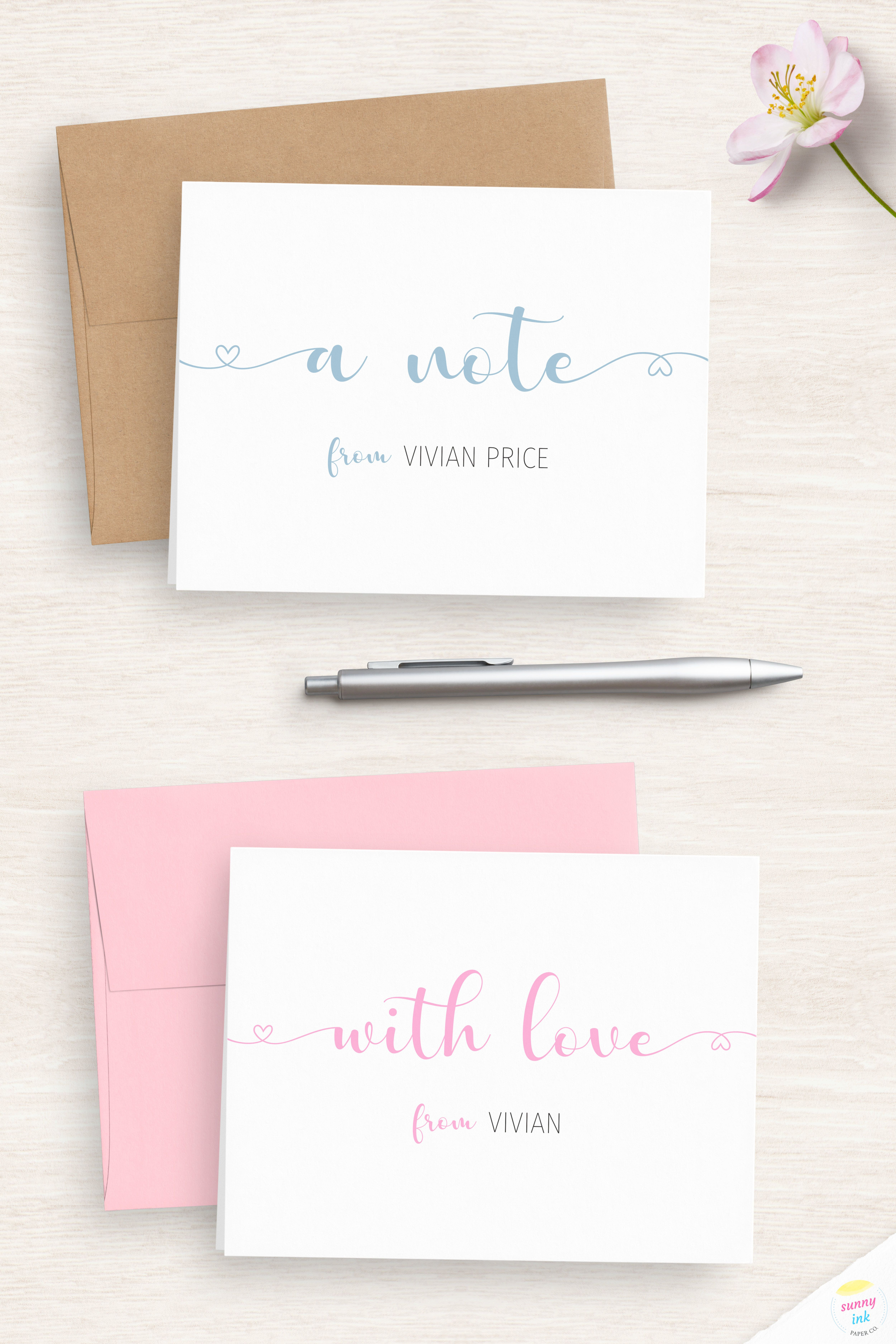 Note Cards Handmade Personalized Folded Note Cards Monogrammed Note Cards Note Cards for Women Note Cards Note Cards With Envelopes