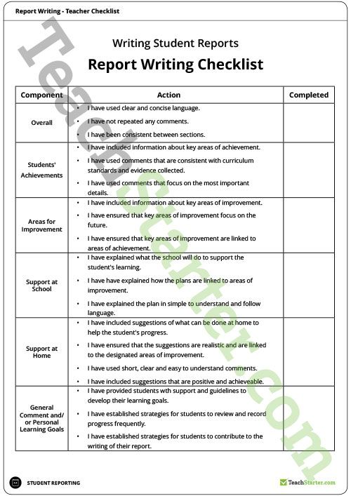 Teacher Report Writing Checklist Teaching Resource  Assessment