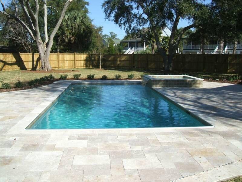 French pattern travertine pool deck pool decks for Pool design pattern