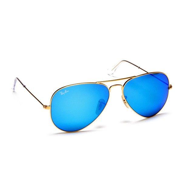 Henri Bendel Ray-Ban Aviator Metal Mirrored Sunglasses ($155) ❤ liked on Polyvore