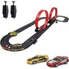 Stunt Raceway Electric Road Racing Set Slot Car Race Track With Remote Controls Porsche Sports Cars
