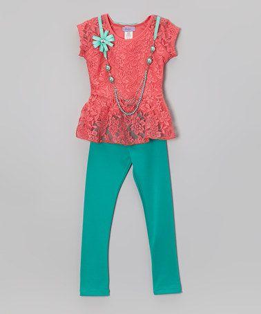 Coral Lace Hi-Low Top Set - Girls #zulily #zulilyfinds