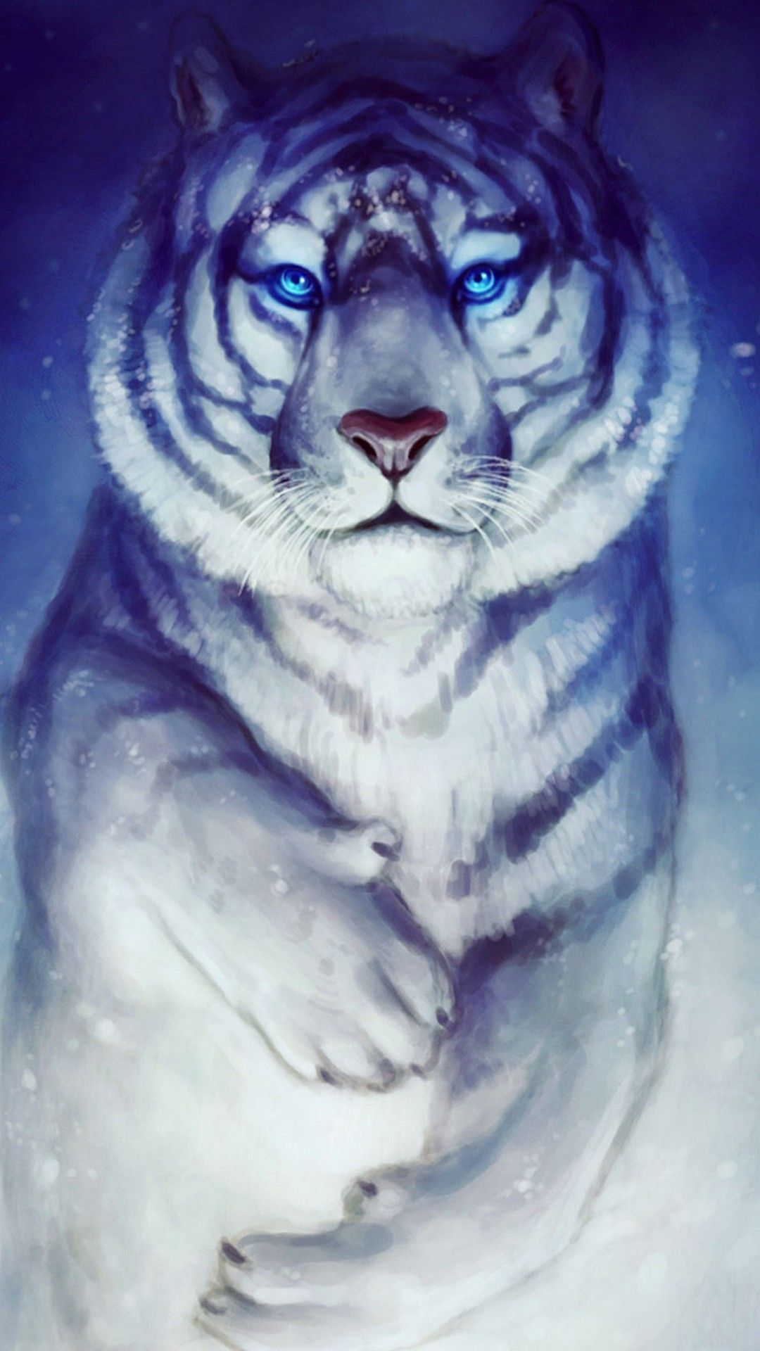 Cute Blue White Background Picture In 2020 Tiger Wallpaper Iphone 6 Wallpaper Backgrounds Painting Prints