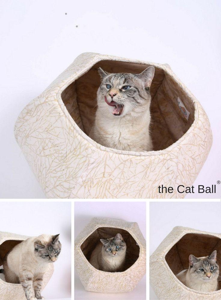 Cat ball cat bed in tan batik branches cats cat - Bed made of balls ...