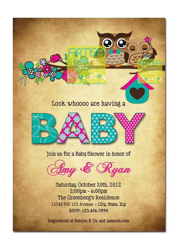 Owl Baby Shower Invitation Owls Baby Girl by artisacreations 1200