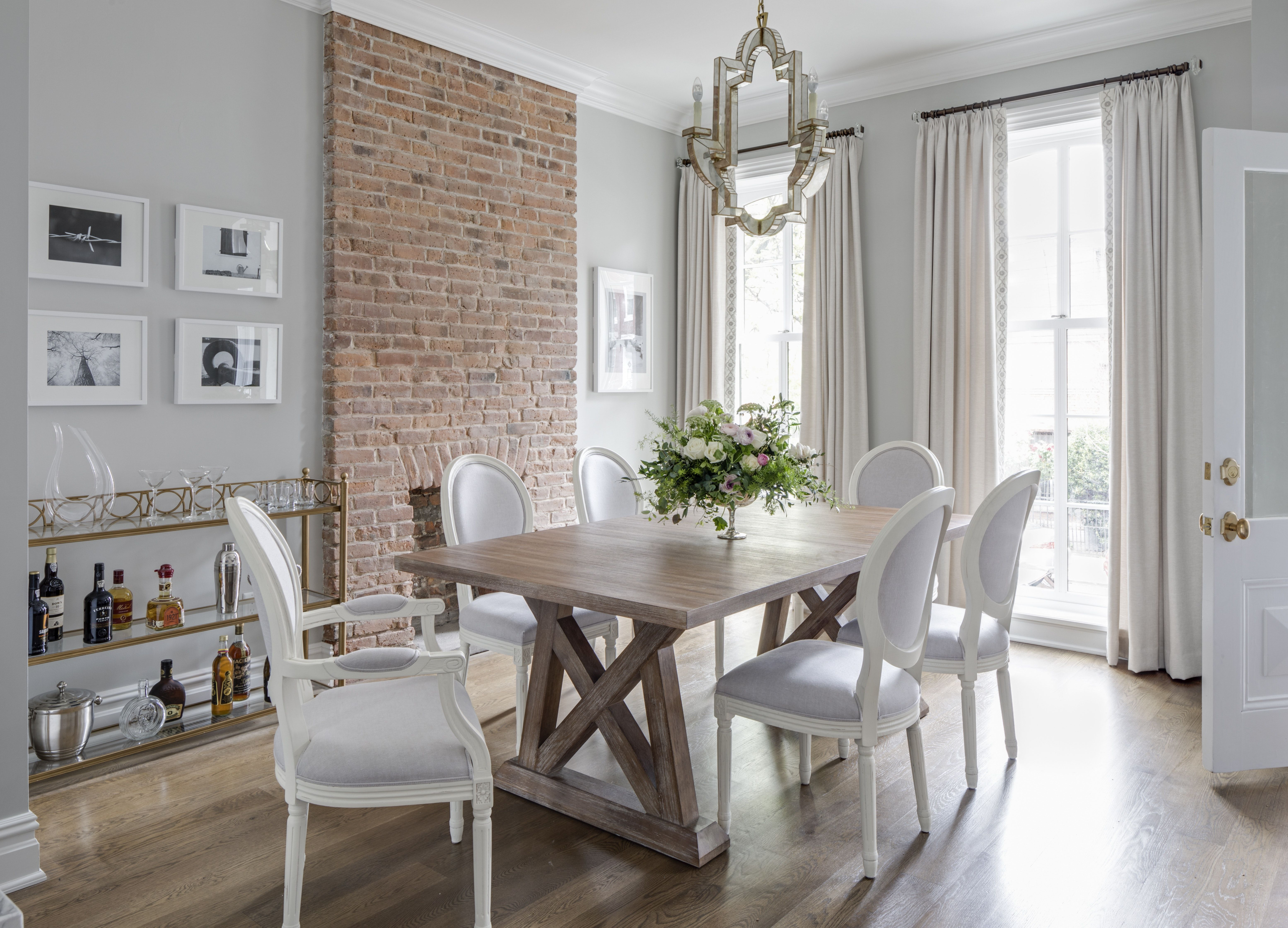 Jersey City Brownstone Dining Room With Floor To Ceiling Windows And Drapery By Jenny Madden Des Luxury Dining Room Cream Living Room Decor Dining Room Small