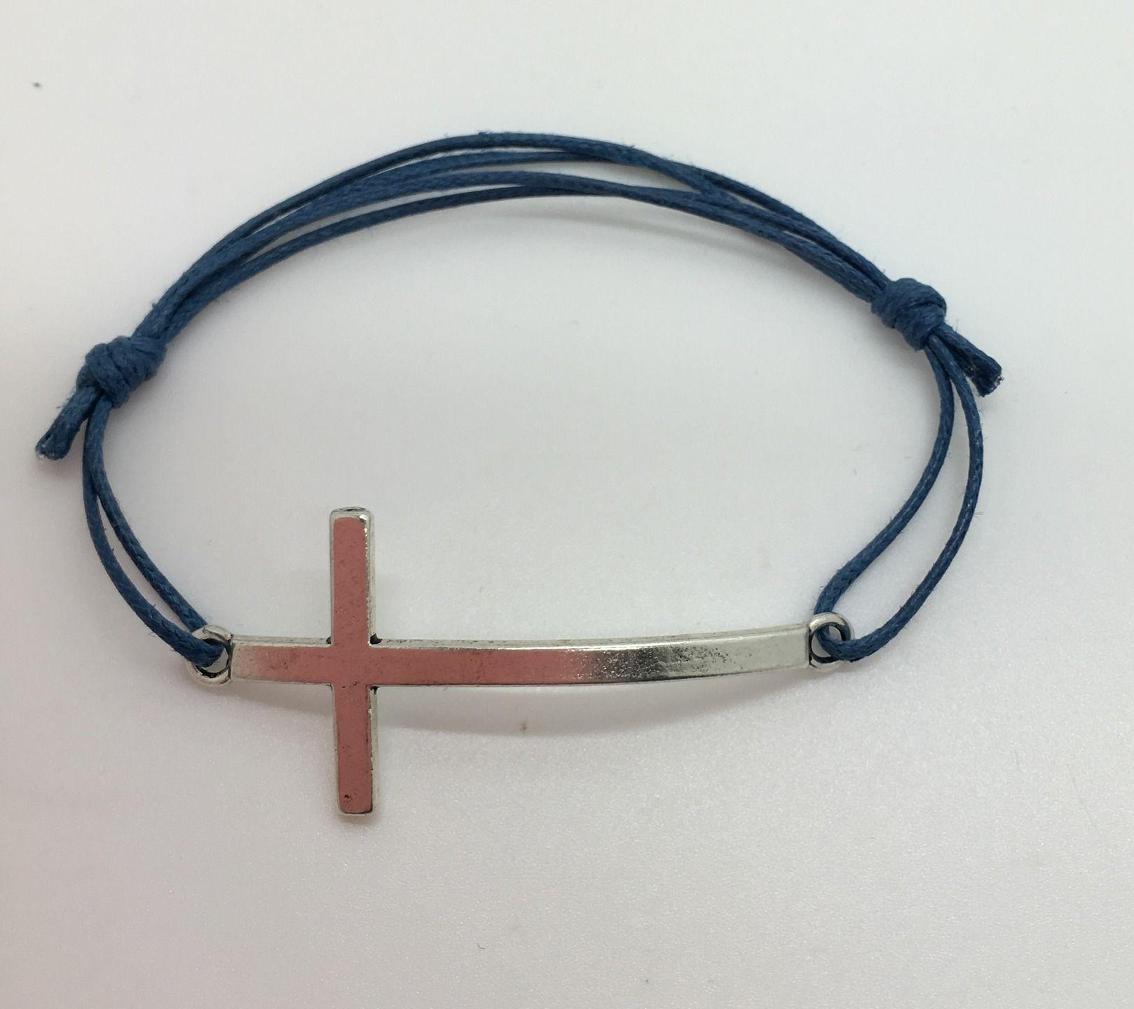 site réputé 16022 07eb7 bracelet homme CROIX argent cordon ajustable | Bracelets ...