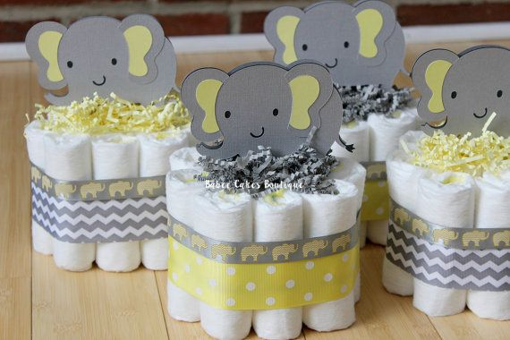 set of 4 mini yellow and gray elephant diaper cake yellow gray elephant baby shower gender. Black Bedroom Furniture Sets. Home Design Ideas