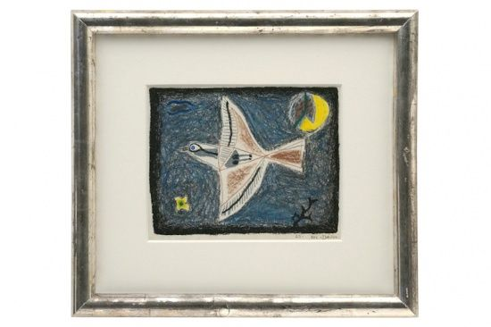 """Abstract crayon drawing of bird by Michel Debieve (1931- ), dated 1966  Size: 18"""" W 16"""" H France, 1966"""