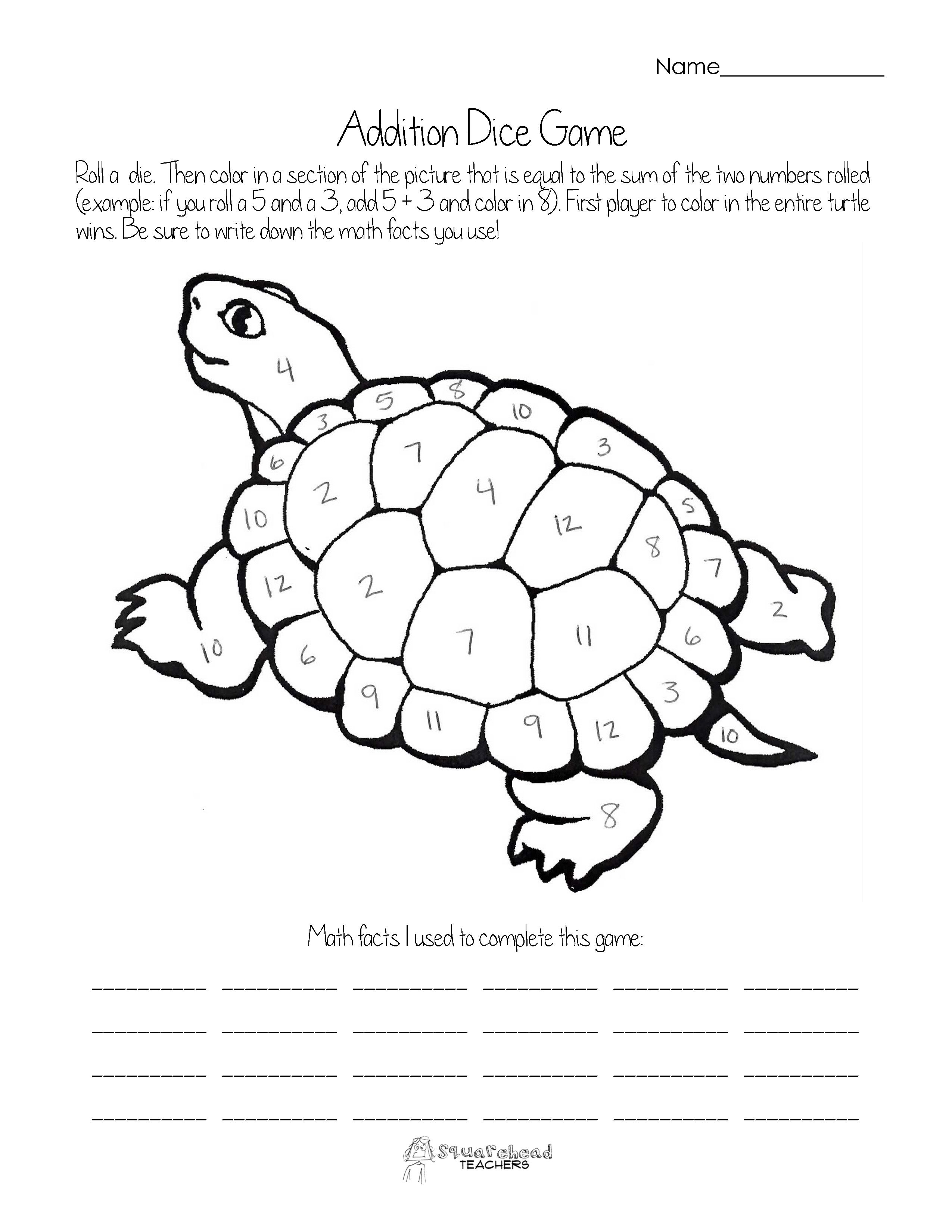 Addition Dice Game Turtle