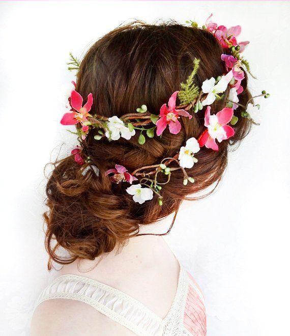 Floral hair wreath Woodland hairpiece Flower girl headpiece Bridal flower crown Summer hair accessory Cherry blossom hair wreath Boho style