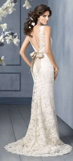 lace and bow wedding dress