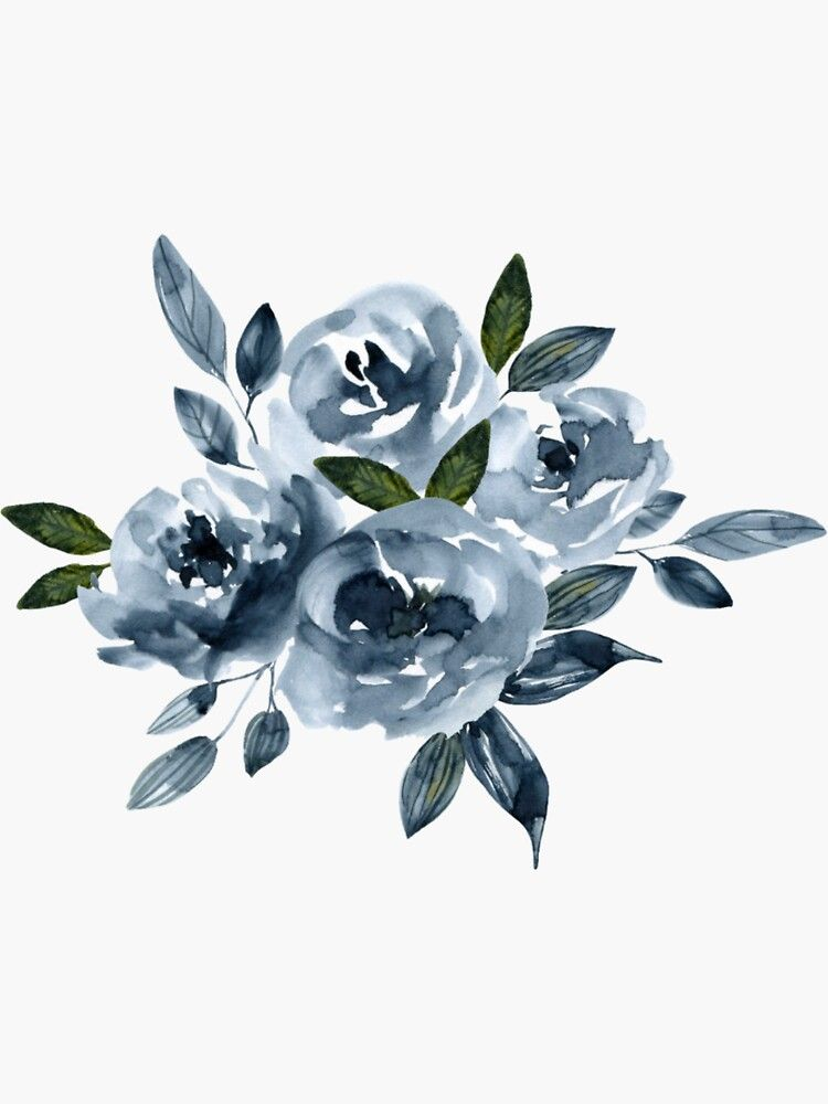 Blue Floral Sticker Transparent Sticker By Jasmine Thomas In 2021 Aesthetic Painting Watercolor Flowers Blue Drawings