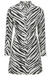 PETITE Zebra Print Shirt Dress