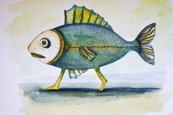 Watercolour Painting Walking Fish Funny By Artbyabrakadabra