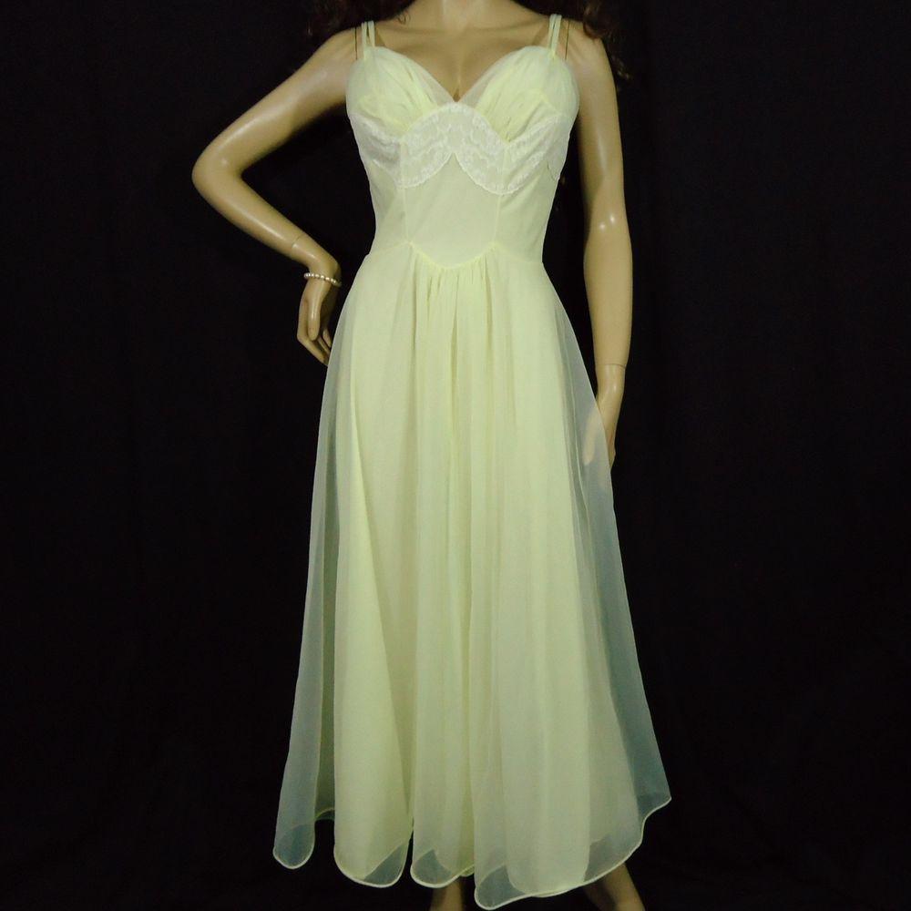 0b719d15a845 VTG NYLON NIGHTGOWN SISSY SHEER LEMON DBL CHIFFON #VirginiaWallace  #vintagenightgown #sissynightgown