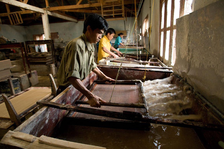 Fábrica de papel en Timphu