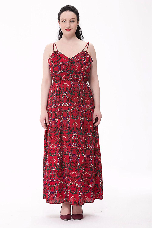 Click to buy ucuc summer dress floral print elastic waist maxi