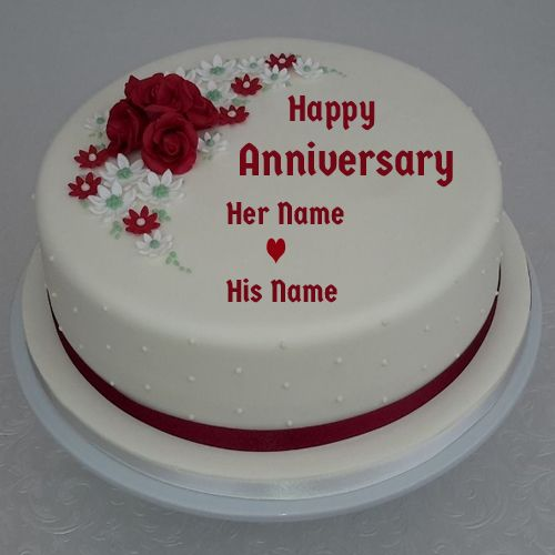 Anniversary Special Red Rose Romantic Cake With Name Linda In 2019
