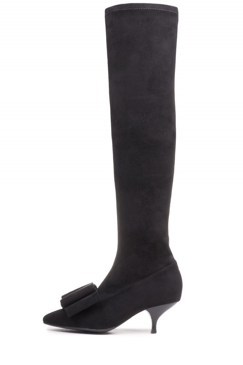 Jeffrey Campbell Shoes Sienna Bow New Arrivals In Black Kitten Heel Boots Boots Jeffrey Campbell Shoes