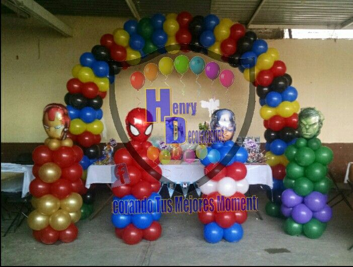Decoración Con Globos Vengadores Marvel Birthday Party Avengers Birthday Party Decorations Superhero Birthday Party