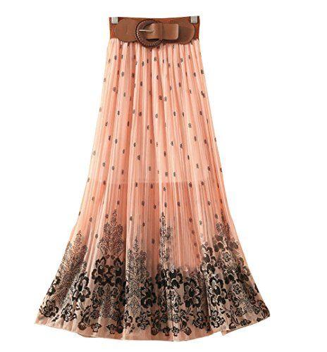 Womens Pleated Floral Print Bowknot Belt Chiffon Long Skirt Maxi Dress ACEFAST INC http://www.amazon.com/dp/B00MHNLHRS/ref=cm_sw_r_pi_dp_BVNbub1TPHK4H