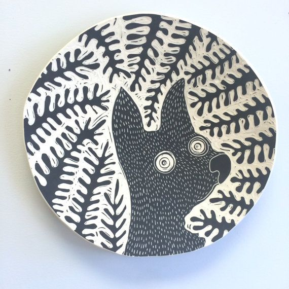 Critter in the Wild Wall Art / Ceramic Hanging Plate by Oxide Pottery, Lynchburg Virginia