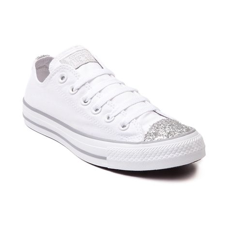 Shop for Converse All Star Lo Glitter Toe Sneaker in Gray at Shi by Journeys. Shop today for the hottest brands in womens shoes at Journeys.com. #whiteallstars