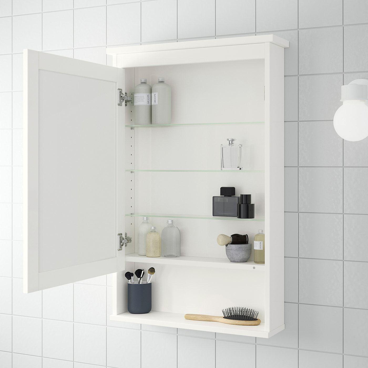 Ikea Hemnes White Mirror Cabinet With 1 Door In 2020 Mirror