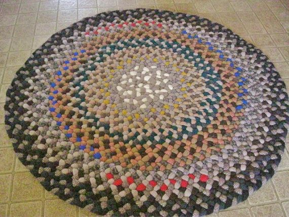 Reserved For Mailmetzger Vintage Wool Braided Round Rug In