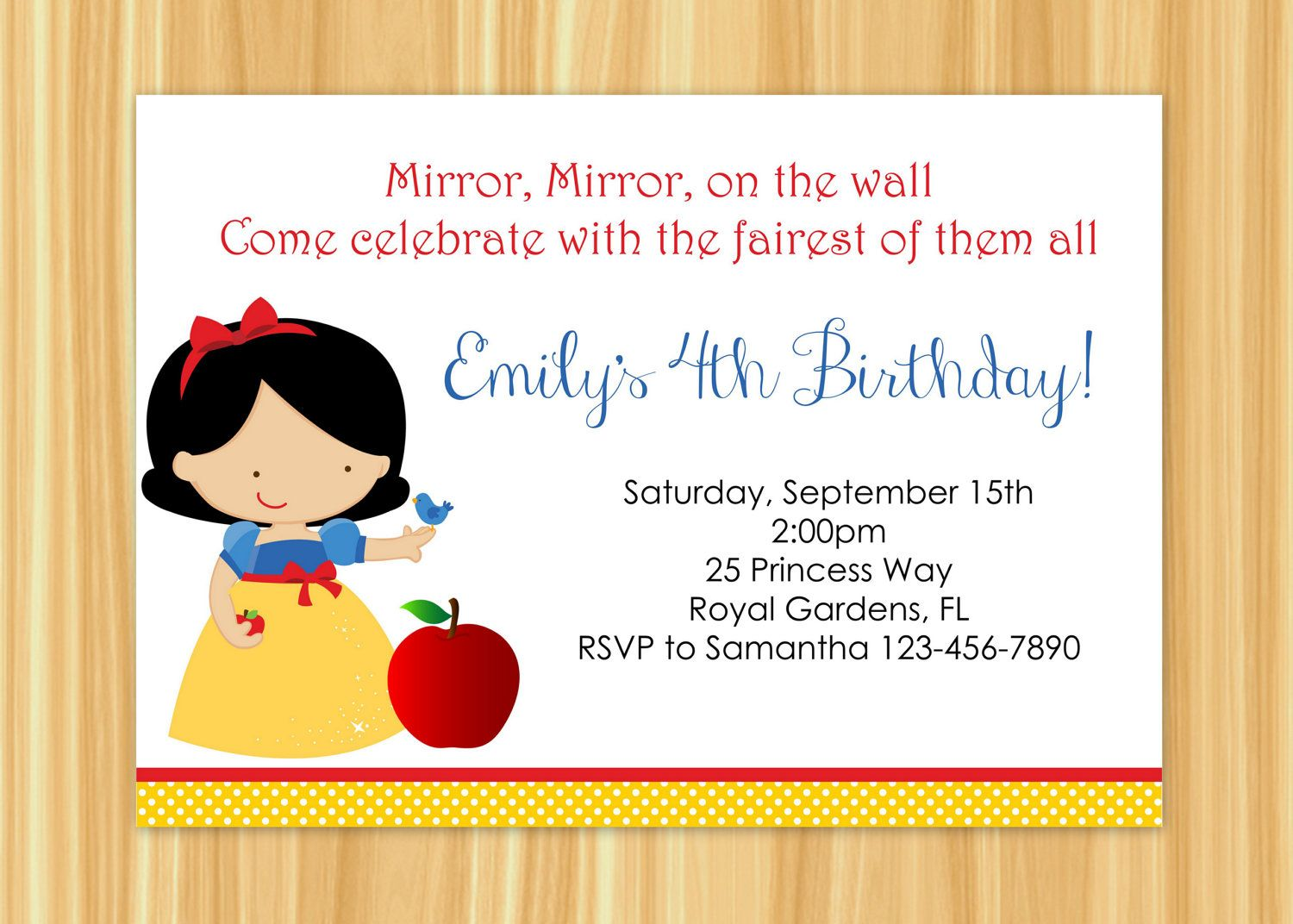 Custom Printable Snow White Inspired Birthday Party Invitation