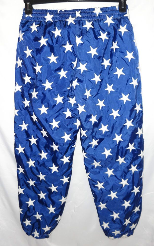 VTG Limited Edition USA L M Flag Star Jog Sweat Pants Neiman Marcus Embroidered