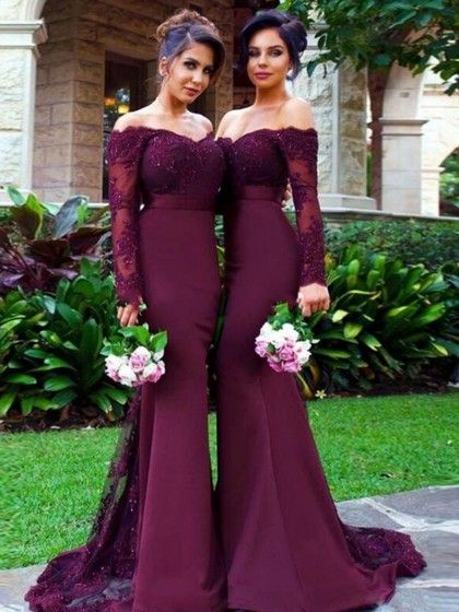 b04cf180b50d Trumpet/Mermaid Tulle Silk-like Satin Sweep Train Appliques Lace Off-the- shoulder Long Sleeve Bridesmaid Dresses #DGD01012904