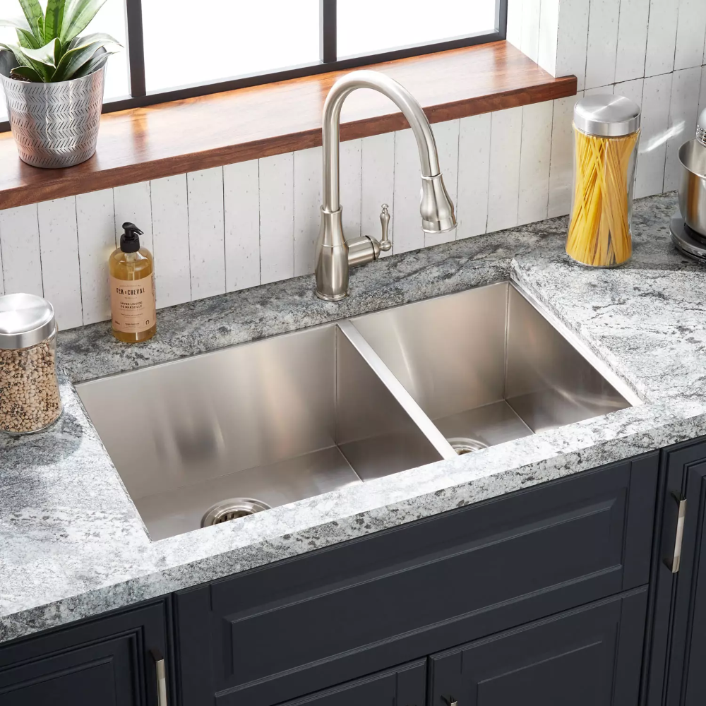 Offering A Pair Of Offset Basins The 33 Stainless Steel Kitchen Sink Undermount Drop In Kitchen Sink Stainless Steel Kitchen Sink