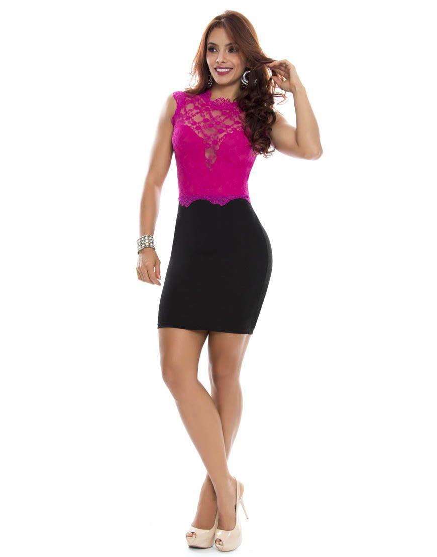 Vestido color coral con negro