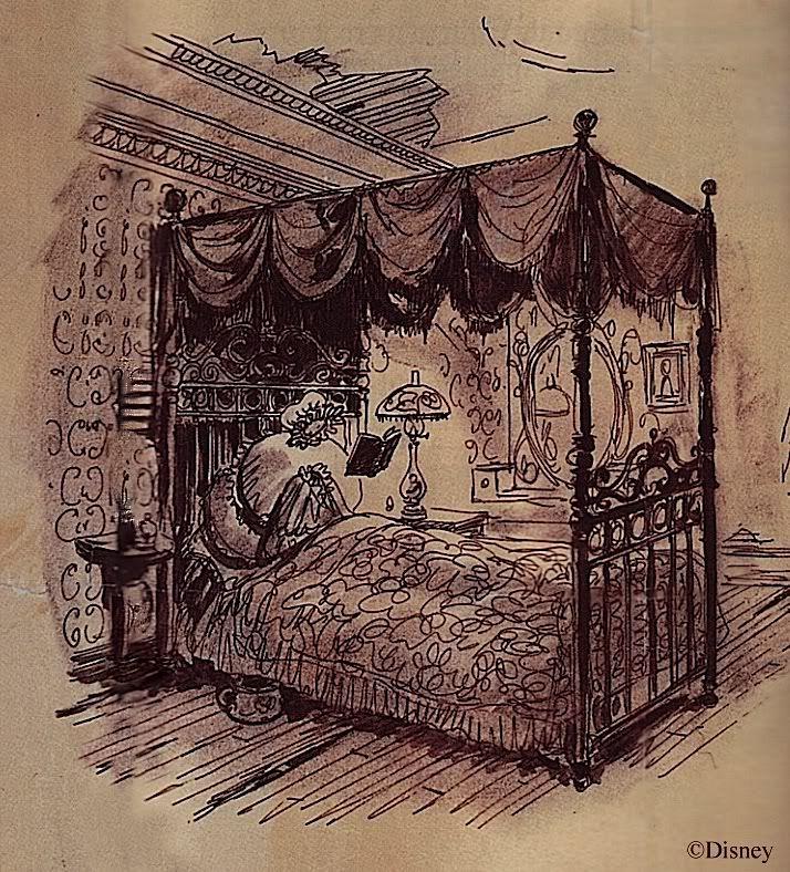 haunted mansion dining room marc davis illustration of the dining