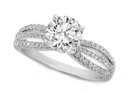 Three-Row Diamonds Engagement ring 0.74 tcw