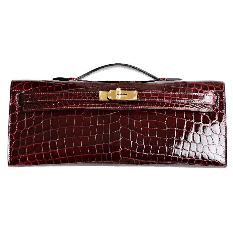 74d1c474cb50 Hermes Bordeaux Shiny Niloticus Crocodile Kelly Cut with Gold Hardware |  1stdibs.com