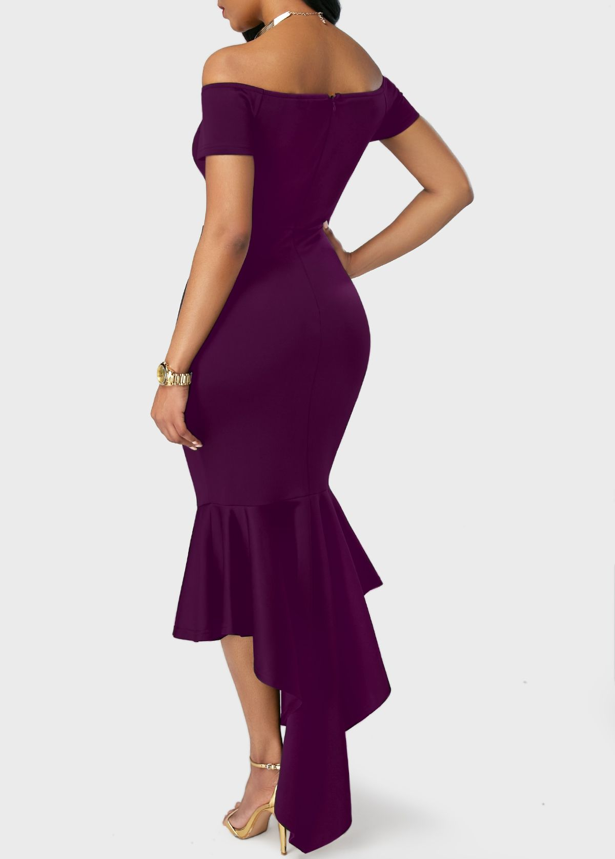 cc9ed528a51d Peplum Hem Split Neck Purple Bardot Dress on sale only US$34.90 now, buy  cheap Peplum Hem Split Neck Purple Bardot Dress at liligal.com