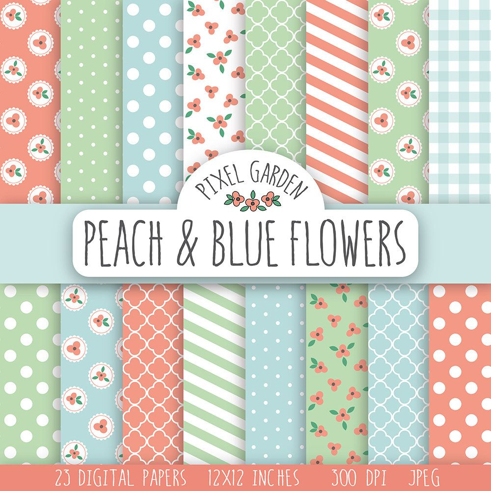 Shabby Floral Digital Paper Pack Cottage Chic Scrapbooking Paper Peach Flowers Printable Paper Peach Mint Baby Blue Free Scrapbook Paper Scrapbook Paper Digital Paper