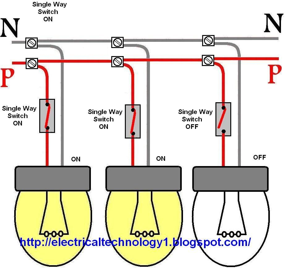 How To Control Each Lamp By Separately Switch In Parallel Lighting Light Switch Wiring Wire Lights Parallel Wiring