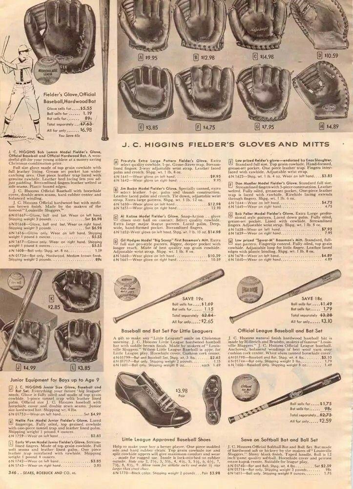 J C Higgins brand baseball gloves - 1956