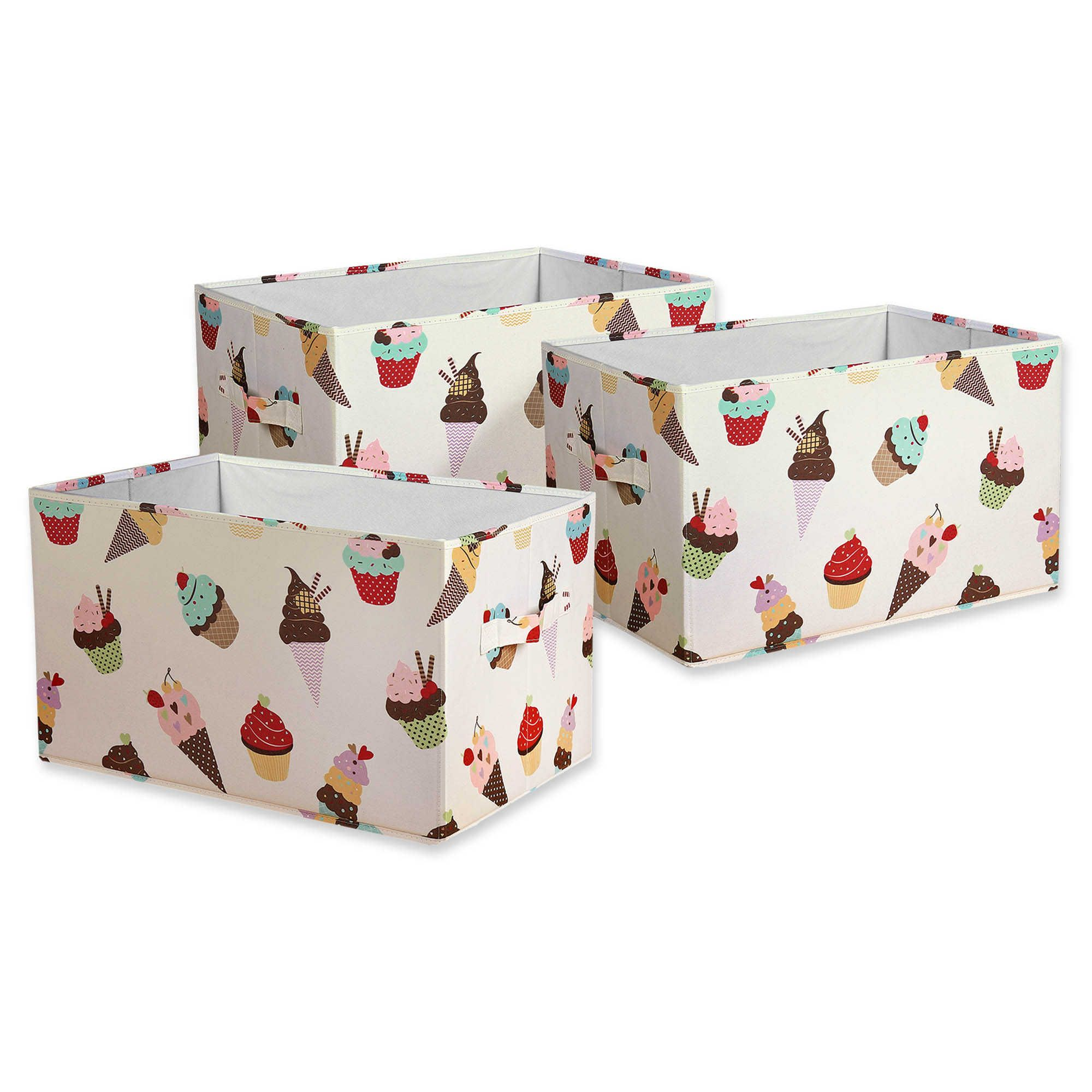 Lush Décor Cupcake Ice Cream Collapsible Storage Box (Set ...