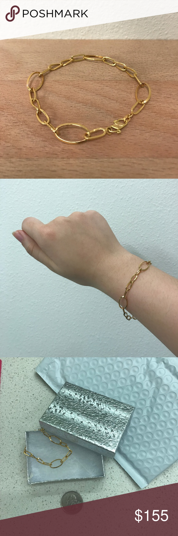 K gold large long and short chain bracelet simple and minimal gold