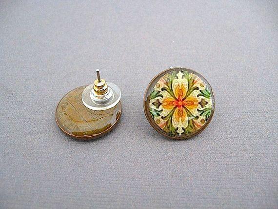 Orange Art Deco Fl Penny Stud Earrings lucky by StudioLaTouche