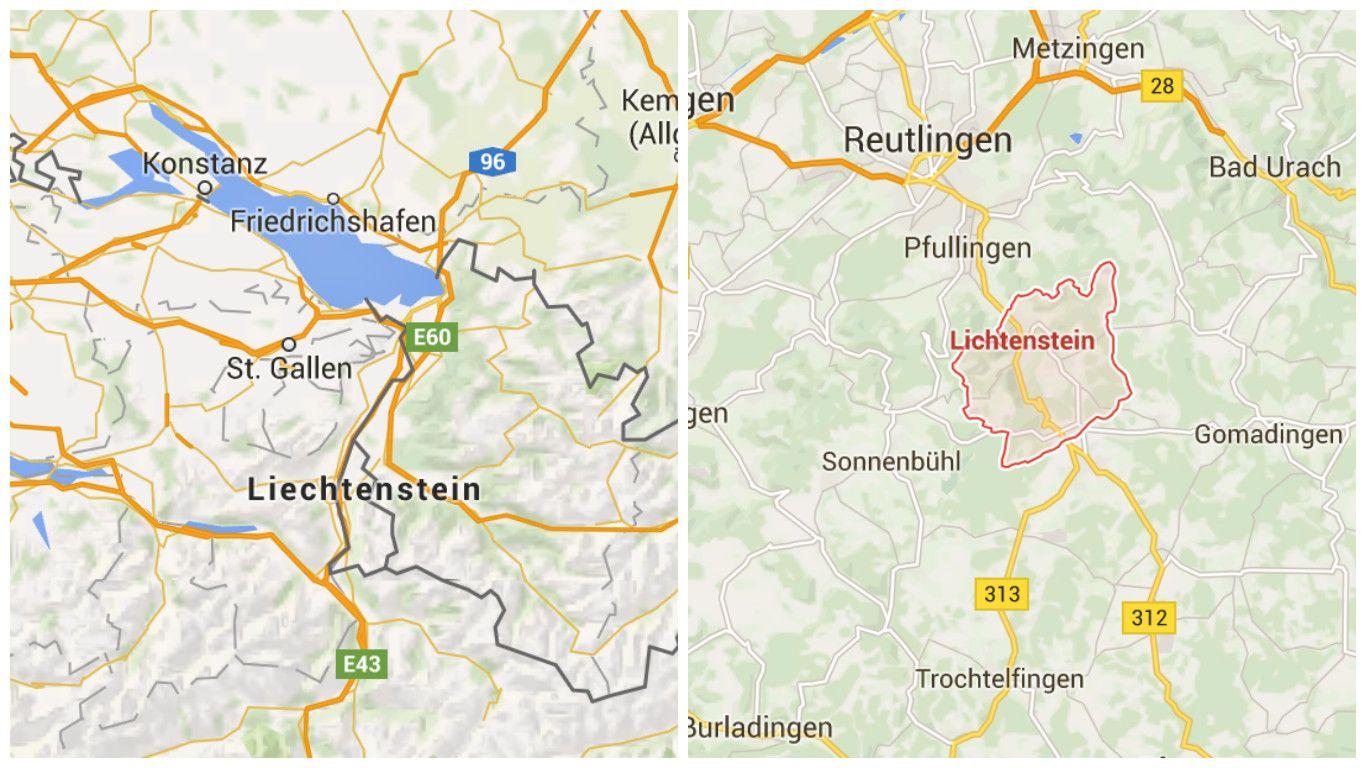 Ein Buchstabe Kann Unterwegs Manchmal Ein Paar Hundert Kilometer Kosten Lichtenstein Ist Eine Gemeinde In Baden Wurttemberg Und Das Furs Map Map Screenshot