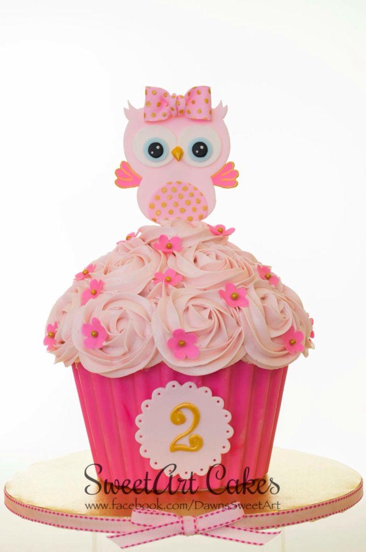 2nd Birthday Smash Cake Owl Cake Jumbo Cupcake Cake Sweetart
