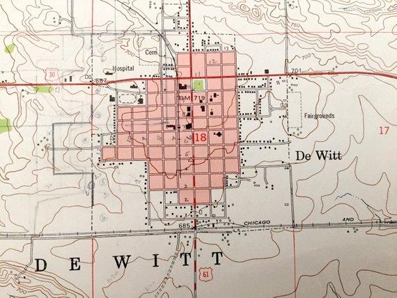 Antique Dewitt Iowa 1953 Us Geological Survey Topographic Map
