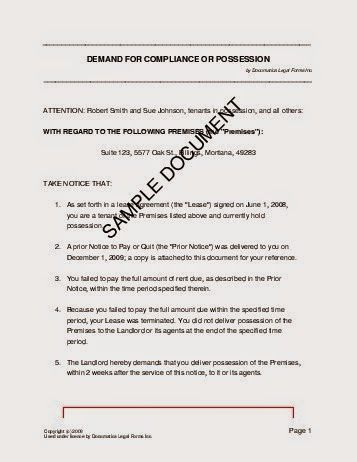 Possession Letter Format  Stuff To Buy    Free Credit